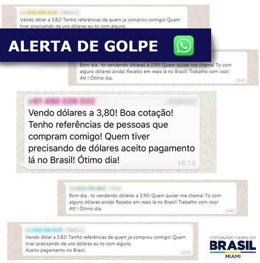Alerta do Consulado Geral do Brasil em Miami –  Fraudes e Golpes eletrônicos através do WhatsApp