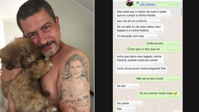 Ex-mulher mostra papo com Tom Veiga, o Louro José, 1 mês antes da morte