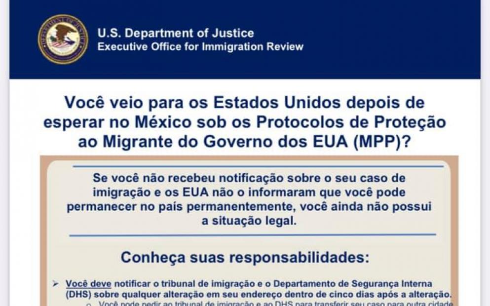 Departamento de Justiça dos EUA pública informativo em português sobre o que imigrantes detidos no México devem fazer